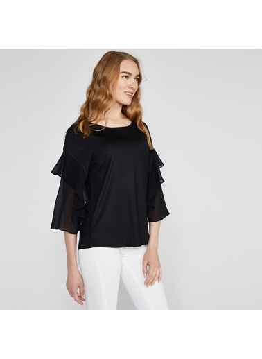 Vekem-Limited Edition Truvakar Kol Volanlı Sıfır Yaka Bluz Siyah